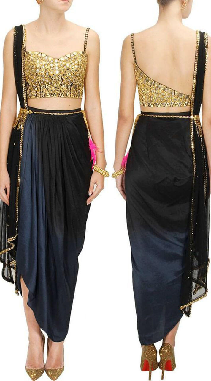 Navy Blue Satin And Sequins Skirt With Blouse Wj96430
