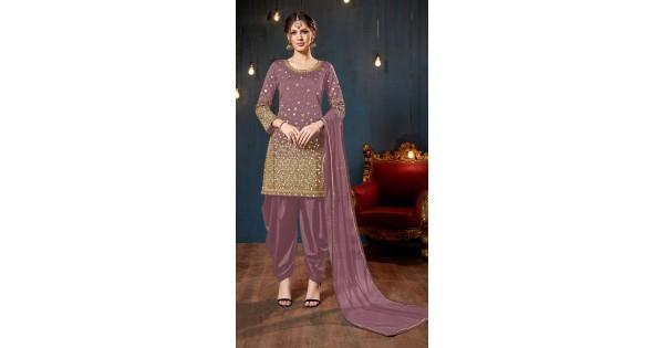 cabe13f0f8 Mirror Work Dusty Purple Patiala Salwar Kameez MV2865180