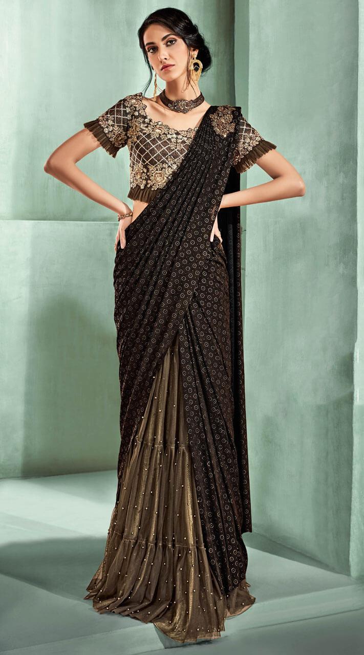 Beige And Dark Brown Lycra And Net Lehenga Style Saree Ms531763