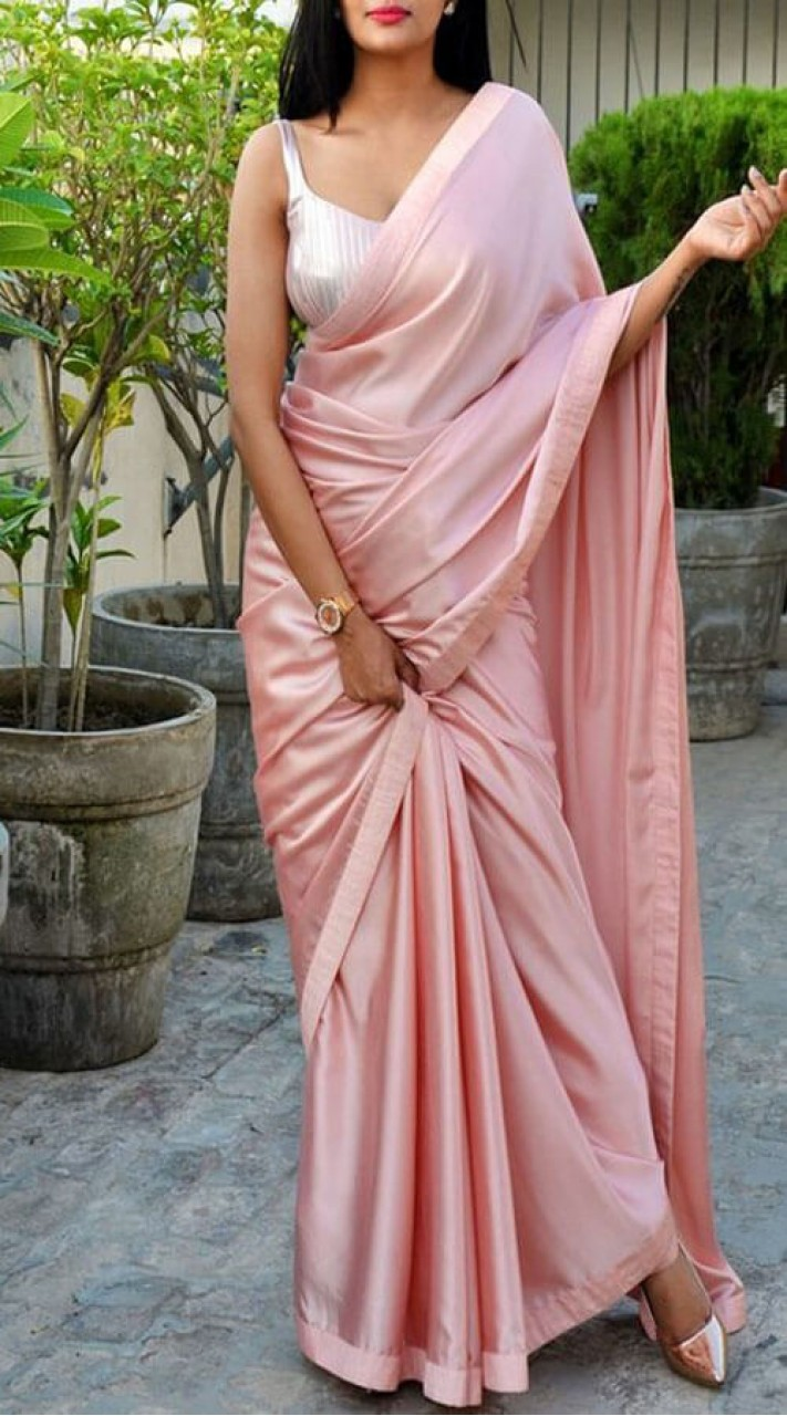 7e69d6b1a1d38 Dusty Pink Satin Silk Sleeve Less Blouse Saree for Party