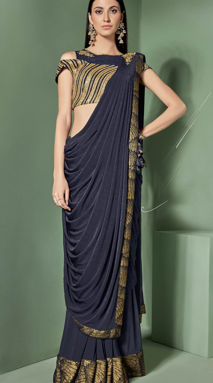 huge discount Super discount retail prices Party wear Lycra Navy Blue Cold Shoulder Blouse Saree MS530763