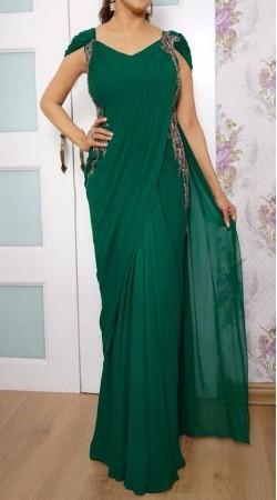 ecf097f2d Charming Georgette Emerald Green Sa.