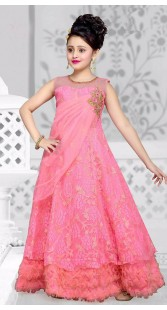 Adorable Pink Net Kids Girl Designer Gown With Floral Work DTK2652