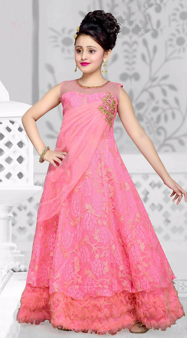 Pink Net Kids Girl Designer Gown With Floral DTK2652
