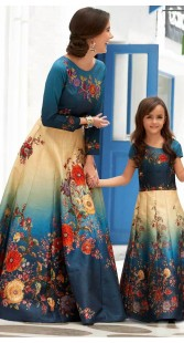Blue And Cream Silk Mother Daughter Combo Set TK30630