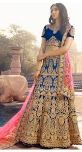 Blue Engagement Lehenga Choli With Pink Dupatta