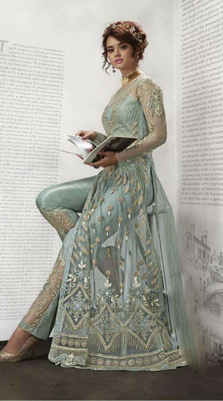 Greenish Grey Long Anarkali Suit For Wedding Wear BR2300542