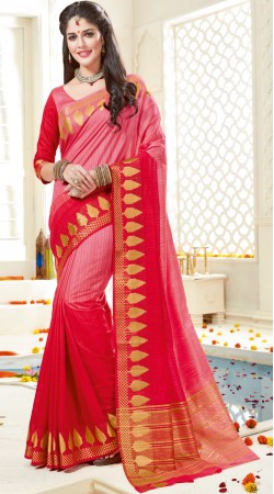 Pink Bonga Silk Saree With Matching Blouse