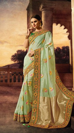 Beautiful Olive Green Pure Banarasi Silk Heavy Saree