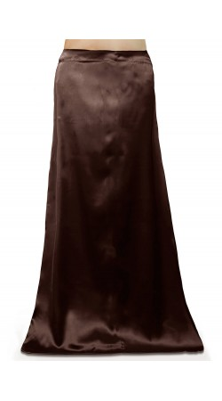 Satin Readymade Petticoat in Brown