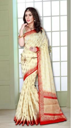 Cream and Red Weaved Zari work Banarasi Silk Saree