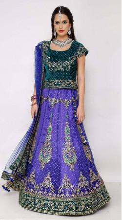 Reception Wear Net Blue and Green Lehenga Choli
