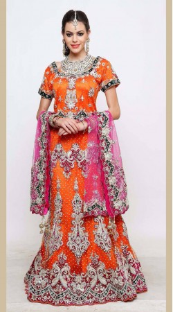 Orange and Green Lehenga Choli For Reception Wear