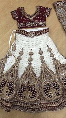 Reception Wear Net White and Maroon Lehenga Choli