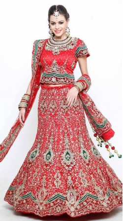 Red and Green Lehenga Choli For Engagement Wear