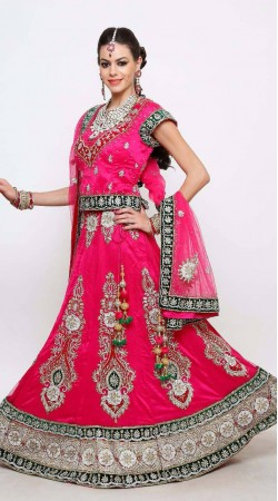 Net Bridal Deep Pink and Green Lehenga Choli