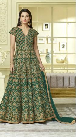 Elegant Green Tafeta Silk Long Anarkali Salwar Kameez