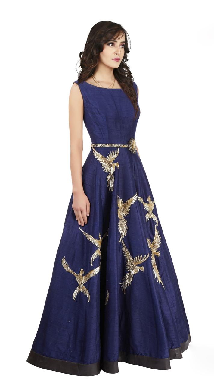 Elegant Look Navy Blue and Raw Silk indowestern Gown TK500639