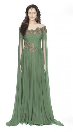 Fantastic Green Georgette  Off shoulder indowestern Gown