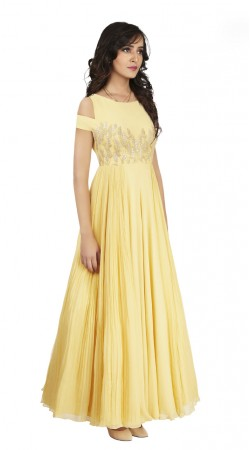 Glassy Lemon and Crepe Silk indowestern Gown