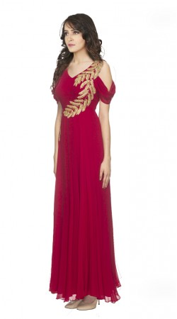 Glassy Look Bollywood Style Red and Georgette Off shoulder Gown