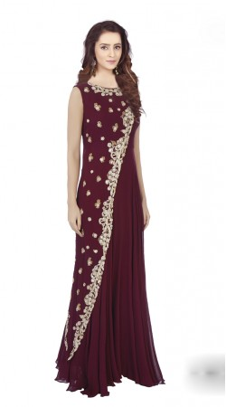 Glassy Loook Burgundy and Georgette indowestern Gown