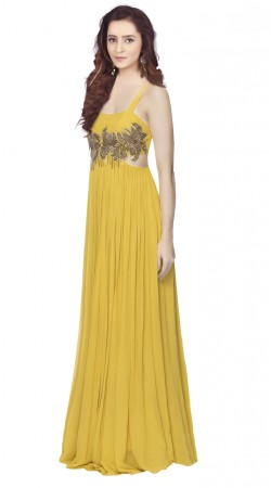 Glassy Yellow Georgette indowestern Gown
