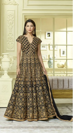 Heavy Zari work Tafeta Silk Long Anarkali Salwar Kameez