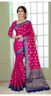 Pink and Blue Heavy Wedding Wear Look Silk Saree