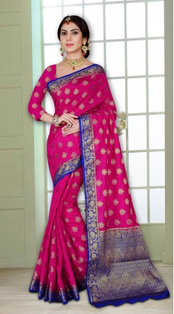 Pink and Blue Heavy Wedding Wear Look Silk Saree