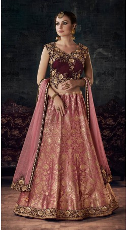 Pink Weaved Silk Zari and Cord Embroidered Lehenga Choli