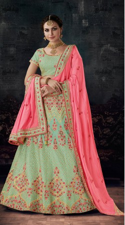 Pista Green Silk Zari and Resham Work Lehenga Choli