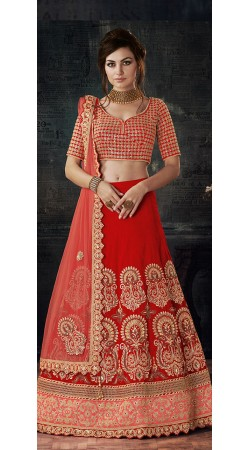 Red Bridal Wear Zari and Sequins Work Lehenga Choli