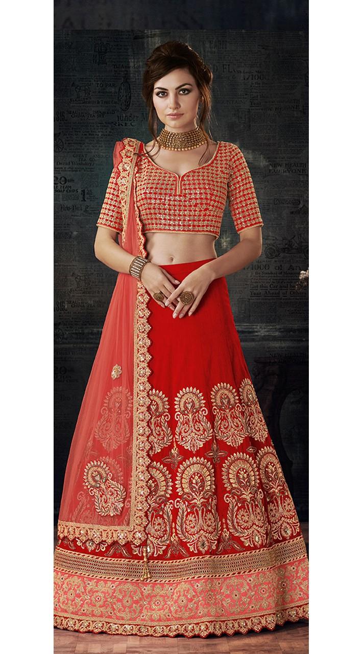 Red Bridal Wear Zari and Sequins Work Lehenga Choli MS741546