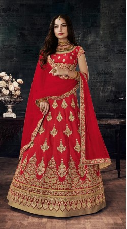 Red Wedding Wear Heavy Work Silk Lehenga Choli