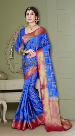 Royal Blue Beautiful Banarasi Silk Saree with heavy Pallu