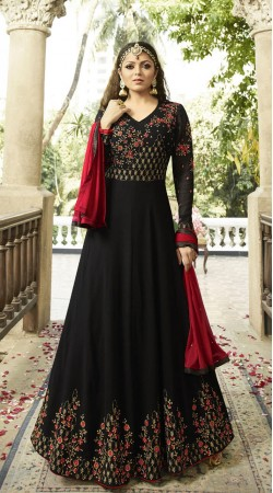 Georgette Engagement Black and Red Beautiful Long Salwar Suit