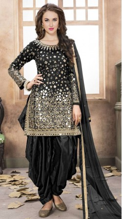 Tafeta Silk Suit In Black For Party