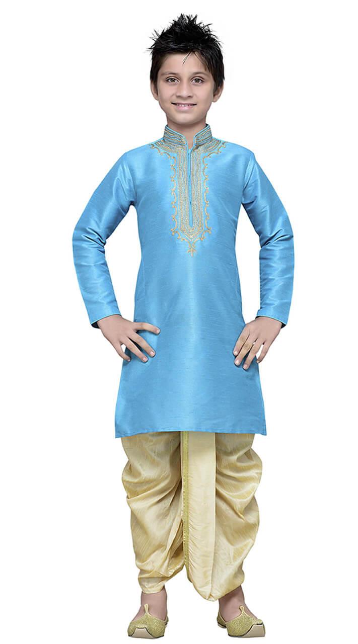 Firozi Art Silk Kid Boy Kurta Pajama TK7218041