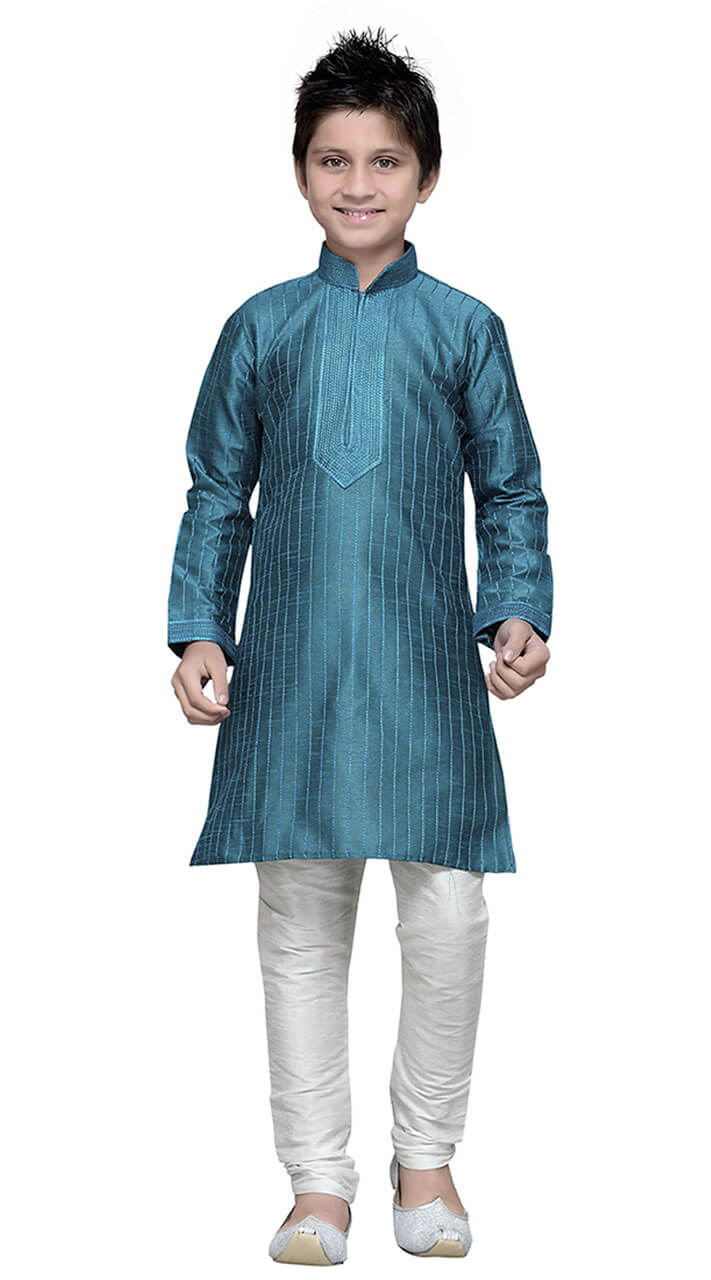 Green Art Silk Kid Boy Kurta Pajama TK7218341