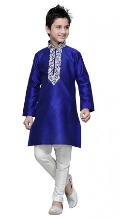 Blue Art Silk Kid Boy Kurta Pajama