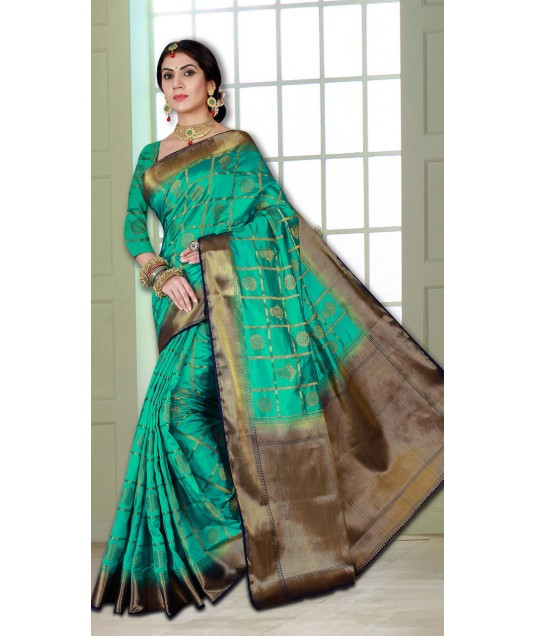Turquoise Banarasi Silk Saree and Heavy Deisnger Look Pallu