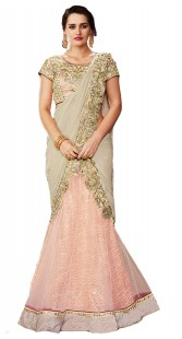 Wedding and Party Wear Pink Net Raw Silk Lehenga Saree