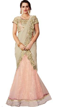 Wedding and Party Wear Pink Net Raw Silk Lehenga Saree