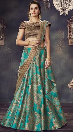 Wedding And Party Wear Turquoise Designer Lehenga Saree