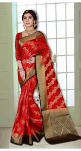 Wedding Wear Look Banarasi Silk Saree with Heavy Pallu
