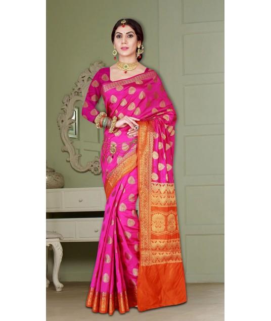 Wedding Wear Pink and Orange Banarasi Silk Saree