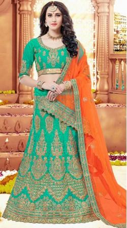 Wedding Wear Rama Green Naylon Satin Unstitched Lehenga