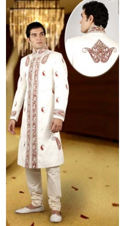 IBDTK0703 Off White And Cream Groom Sherwani