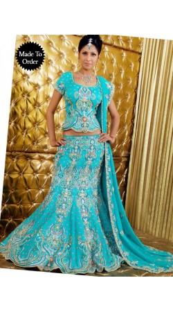 IBRSWL04 Aqua Blue Pure Georgette Wedding Fish Tail Lehnga